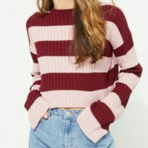 NWT Striped Ribbed Crop Sweater